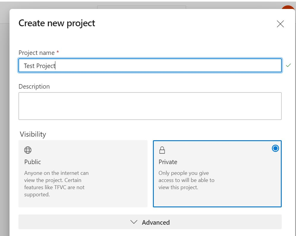 Creating a new Azure DevOps project